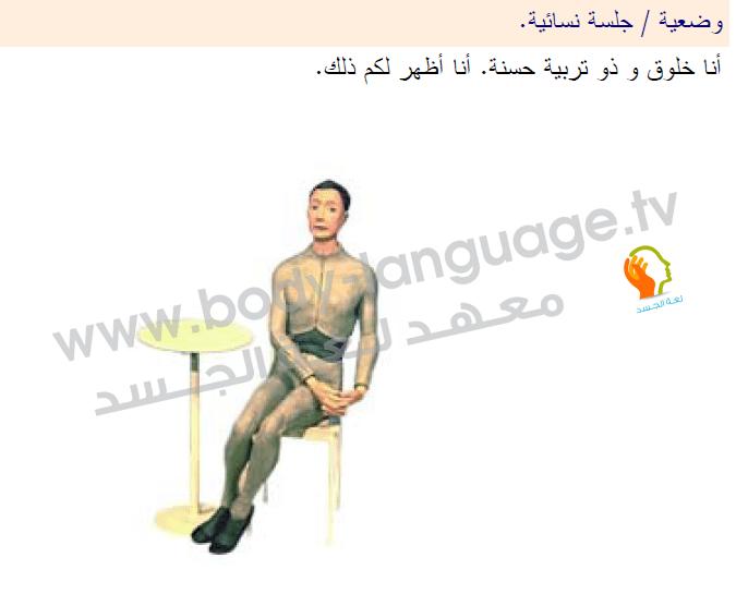 لغة الجسد بالصور - طريقة الجلوس